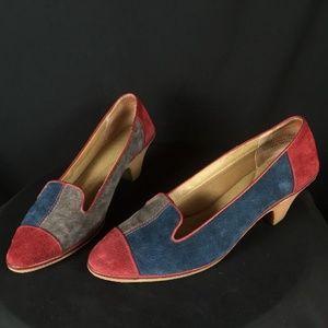 Color Block Suede High Heel Loafer Comfort Shoes
